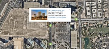 Las Vegas Map with green pins of MLS listings showcasing high rise condos