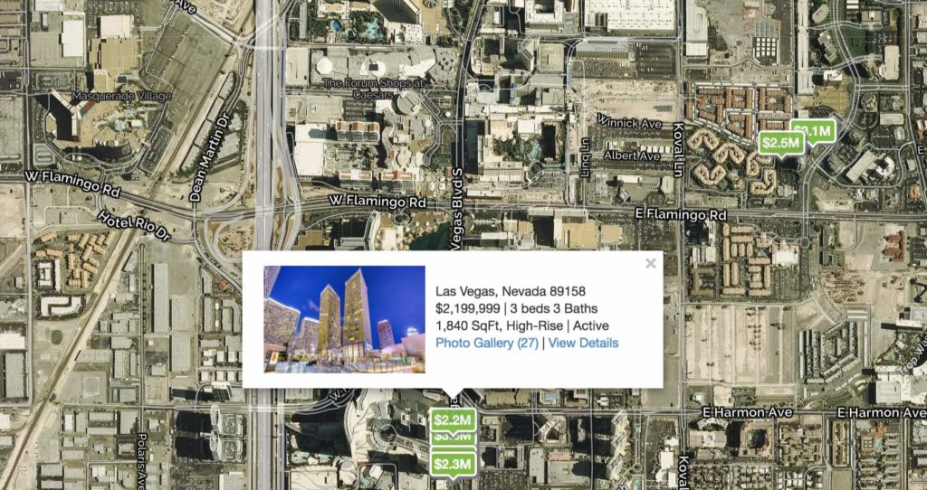 Map of the high rise condos on the las vegas strip with featured luxury property