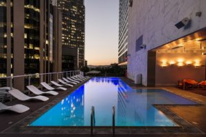 A sparkling pool in one of Las Vegas high rise condos