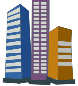 A graphic image of three high rise buildings